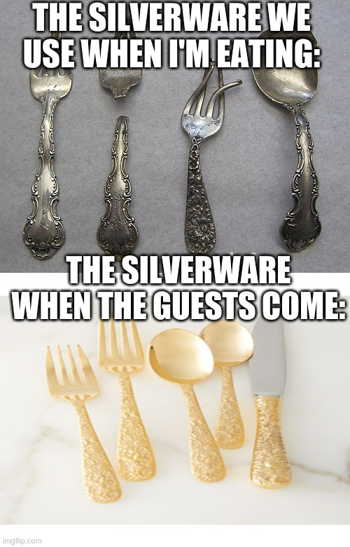 tru |  THE SILVERWARE WE USE WHEN I'M EATING:; THE SILVERWARE WHEN THE GUESTS COME: | image tagged in sad,lol | made w/ Imgflip meme maker
