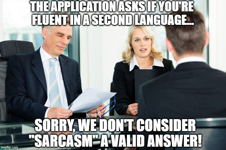 "job interview |  THE APPLICATION ASKS IF YOU'RE  FLUENT IN A SECOND LANGUAGE... SORRY, WE DON'T CONSIDER ""SARCASM"" A VALID ANSWER! 