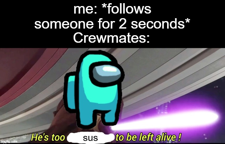 he's too sus to be left alive! |  me: *follows someone for 2 seconds*; Crewmates: | image tagged in he's too sus to be left alive,sus,suspicious,funny,memes,among us | made w/ Imgflip meme maker