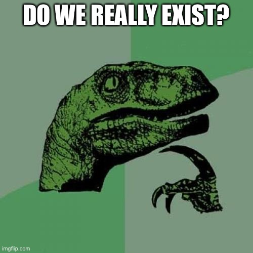 I wunder wut ppl'll think |  DO WE REALLY EXIST? | image tagged in memes,philosoraptor,question,philosophy,stupid question | made w/ Imgflip meme maker