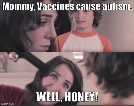 trying to explain it would kill youso why not just kill yourself instead of trying to explain it? |  Mommy, Vaccines cause autism. WELL, HONEY! | image tagged in well honey 2-panel,anti-vaxx,vaccines,suicide | made w/ Imgflip meme maker