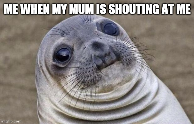 Awkward Moment Sealion |  ME WHEN MY MUM IS SHOUTING AT ME | image tagged in memes,awkward moment sealion | made w/ Imgflip meme maker