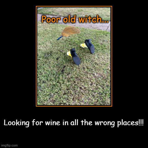 Poor old witch... | Poor old witch... | Looking for wine in all the wrong places!!! | image tagged in funny,demotivationals,wine,halloween | made w/ Imgflip demotivational maker