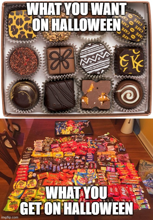 I'm not spoiled, I just have standards ;) |  WHAT YOU WANT ON HALLOWEEN; WHAT YOU GET ON HALLOWEEN | image tagged in chocolate,halloween,candy,trick or treat | made w/ Imgflip meme maker