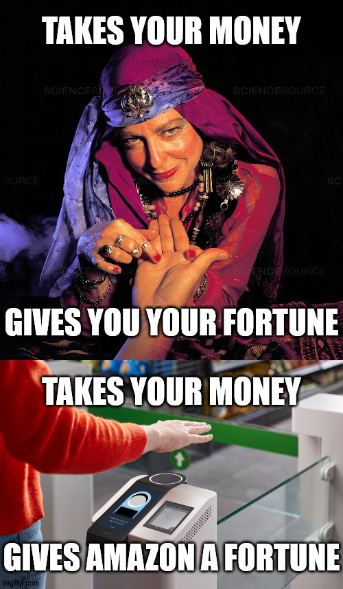 TAKES YOUR MONEY; GIVES YOU YOUR FORTUNE; TAKES YOUR MONEY; GIVES AMAZON A FORTUNE | image tagged in palm reader | made w/ Imgflip meme maker