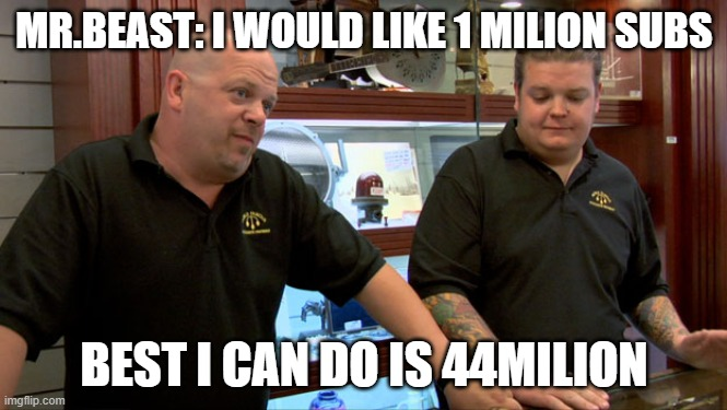 Mr.Beast |  MR.BEAST: I WOULD LIKE 1 MILION SUBS; BEST I CAN DO IS 44MILION | image tagged in pawn stars best i can do | made w/ Imgflip meme maker