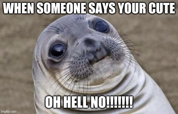 Awkward Moment Sealion |  WHEN SOMEONE SAYS YOUR CUTE; OH HELL NO!!!!!!! | image tagged in memes,awkward moment sealion | made w/ Imgflip meme maker