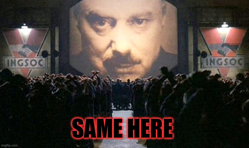 Big Brother IngSoc | SAME HERE | image tagged in big brother ingsoc | made w/ Imgflip meme maker