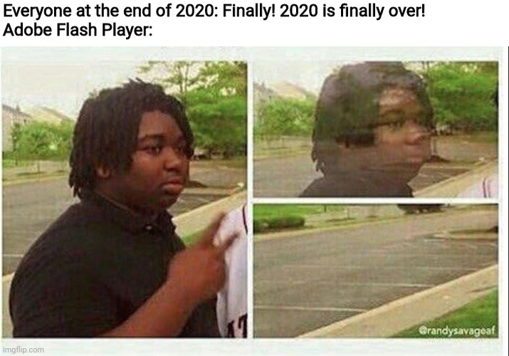 A Sacrifice had to be Made |  Everyone at the end of 2020: Finally! 2020 is finally over! Adobe Flash Player: | image tagged in black guy disappearing,2020,2020 sucks | made w/ Imgflip meme maker