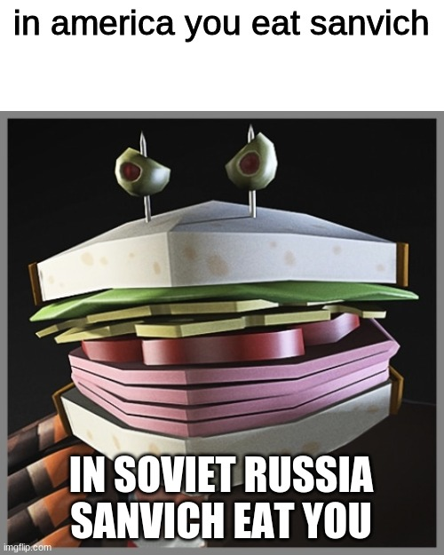 manvich scream fortress XII |  in america you eat sanvich; IN SOVIET RUSSIA SANVICH EAT YOU | image tagged in tf2,funny,tf2 heavy | made w/ Imgflip meme maker