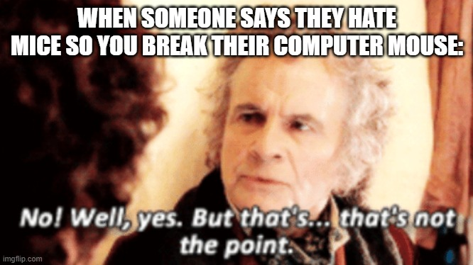 But that's not the point |  WHEN SOMEONE SAYS THEY HATE MICE SO YOU BREAK THEIR COMPUTER MOUSE: | image tagged in but that's not the point | made w/ Imgflip meme maker