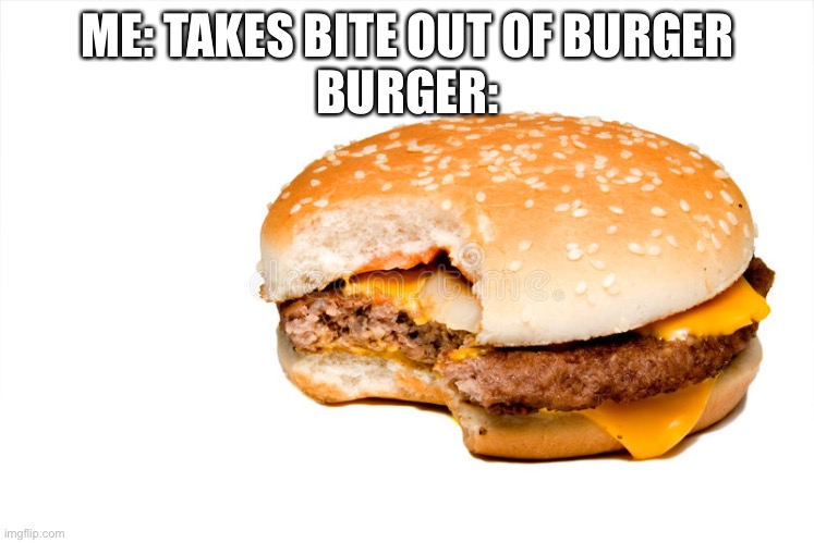 Burger |  ME: TAKES BITE OUT OF BURGER BURGER: | image tagged in burger | made w/ Imgflip meme maker