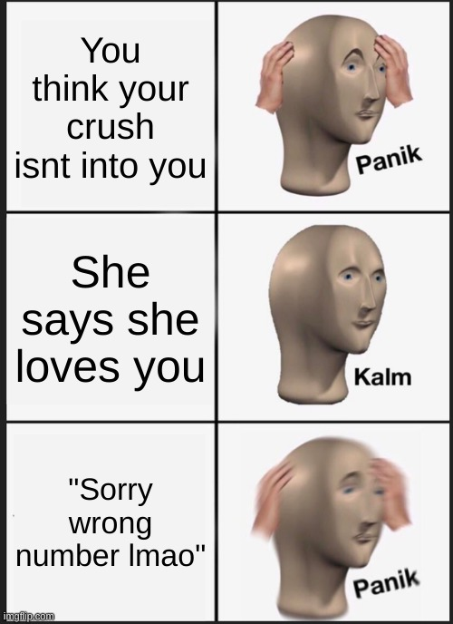 "Sorry wrong number lmao |  You think your crush isnt into you; She says she loves you; ""Sorry wrong number lmao"" 