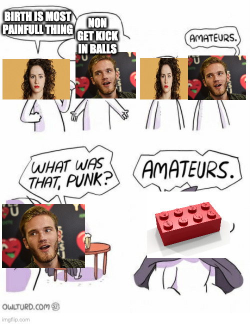 this is the truness of life and of legos secret to take over world |  BIRTH IS MOST PAINFULL THING; NON GET KICK IN BALLS | image tagged in amateurs,memes,pewdiepie,lego,pain | made w/ Imgflip meme maker
