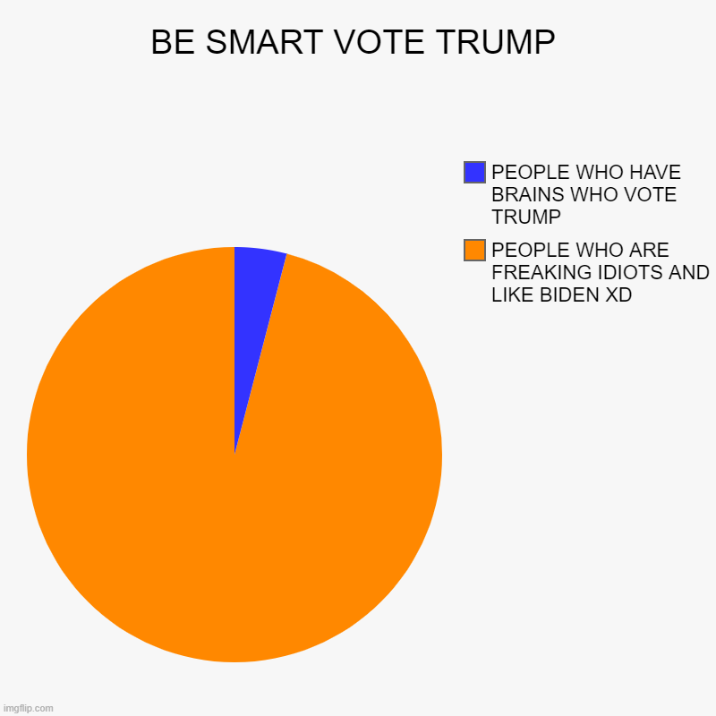 BE SMART VOTE TRUMP | PEOPLE WHO ARE FREAKING IDIOTS AND LIKE BIDEN XD, PEOPLE WHO HAVE BRAINS WHO VOTE TRUMP | image tagged in charts,pie charts | made w/ Imgflip chart maker