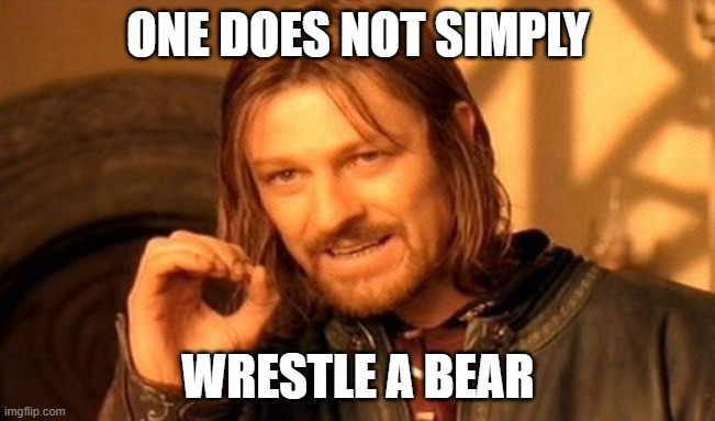 And you can't prove me wrong |  ONE DOES NOT SIMPLY; WRESTLE A BEAR | image tagged in memes,one does not simply,bear wrestling,bear | made w/ Imgflip meme maker