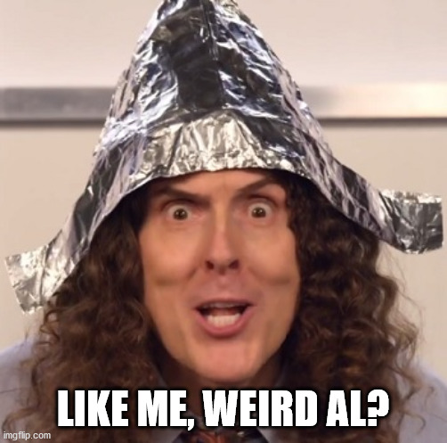 Weird al tinfoil hat | LIKE ME, WEIRD AL? | image tagged in weird al tinfoil hat | made w/ Imgflip meme maker