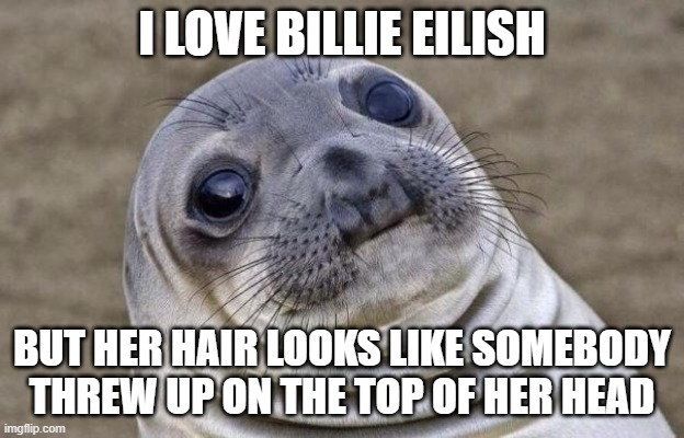Awkward Moment Sealion |  I LOVE BILLIE EILISH; BUT HER HAIR LOOKS LIKE SOMEBODY THREW UP ON THE TOP OF HER HEAD | image tagged in memes,awkward moment sealion | made w/ Imgflip meme maker