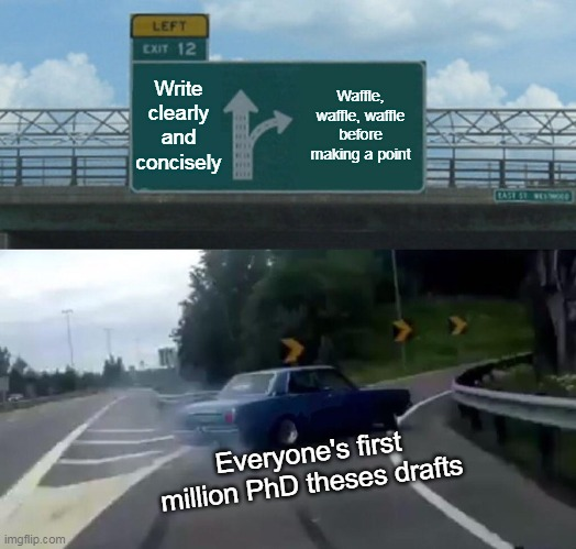 Thesis |  Write clearly and concisely; Waffle, waffle, waffle before making a point; Everyone's first million PhD theses drafts | image tagged in memes,thesis,paper,student life | made w/ Imgflip meme maker