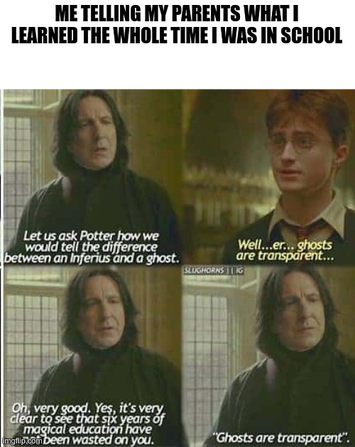 ghosts are transparent |  ME TELLING MY PARENTS WHAT I LEARNED THE WHOLE TIME I WAS IN SCHOOL | image tagged in school,harry potter | made w/ Imgflip meme maker