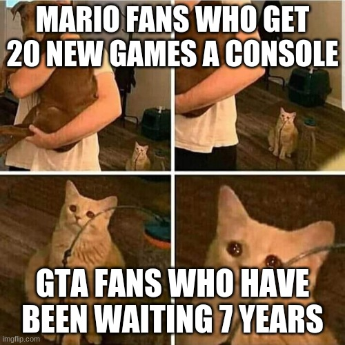 Sad Cat Holding Dog |  MARIO FANS WHO GET 20 NEW GAMES A CONSOLE; GTA FANS WHO HAVE BEEN WAITING 7 YEARS | image tagged in sad cat holding dog | made w/ Imgflip meme maker