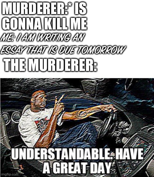 UNDERSTANDABLE, HAVE A GREAT DAY |  MURDERER:* IS GONNA KILL ME; ME: I AM WRITING AN ESSAY THAT IS DUE TOMORROW; THE MURDERER: | image tagged in understandable have a great day,school,murder,lol | made w/ Imgflip meme maker
