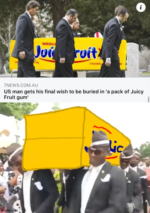 It didn't really take long to draw the box | image tagged in memes,juice,juicy fruit gum,coffin dance,coffin meme | made w/ Imgflip meme maker