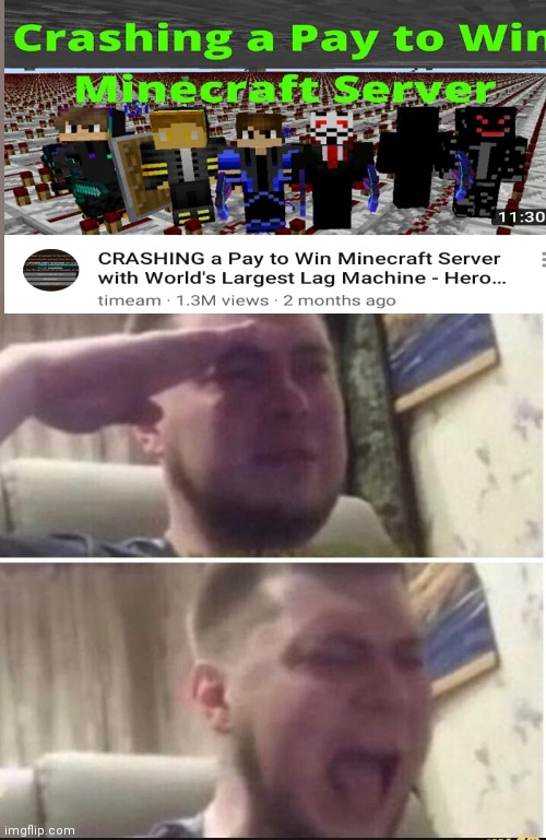 Crying salute | image tagged in crying salute,pay to win,ea,minecraft,minecraft servers | made w/ Imgflip meme maker