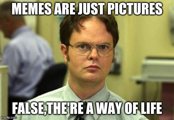 Dwight Schrute |  MEMES ARE JUST PICTURES; FALSE,THE'RE A WAY OF LIFE | image tagged in memes,dwight schrute | made w/ Imgflip meme maker