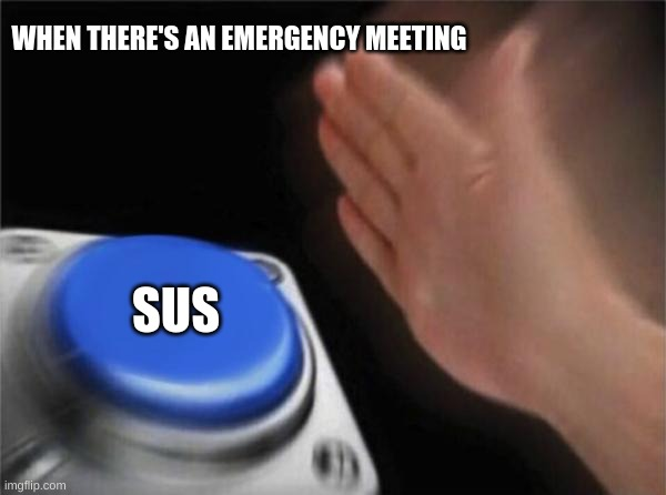 Sus |  WHEN THERE'S AN EMERGENCY MEETING; SUS | image tagged in memes,blank nut button | made w/ Imgflip meme maker