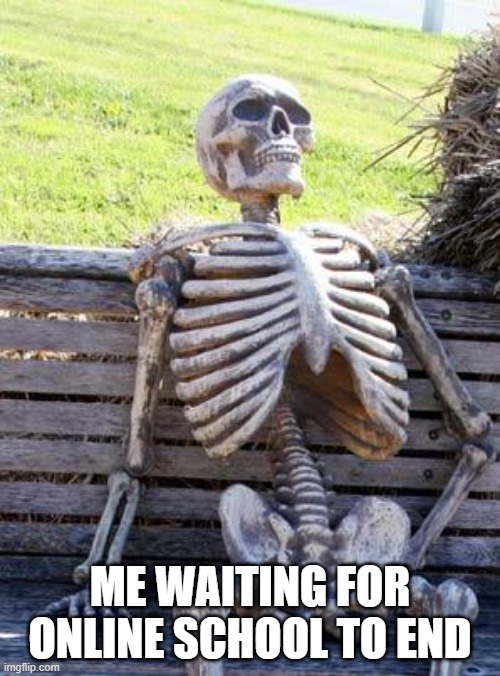 Waiting Skeleton |  ME WAITING FOR ONLINE SCHOOL TO END | image tagged in memes,waiting skeleton | made w/ Imgflip meme maker