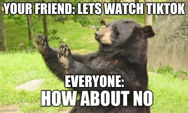 Tiktok will always suck |  YOUR FRIEND: LETS WATCH TIKTOK; EVERYONE: | image tagged in memes,how about no bear,funny | made w/ Imgflip meme maker