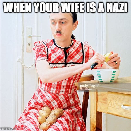 housewife nazi |  WHEN YOUR WIFE IS A NAZI | image tagged in nazi | made w/ Imgflip meme maker