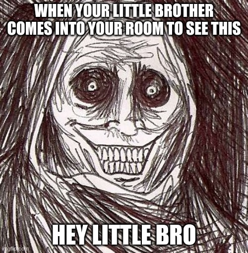 Unwanted House Guest |  WHEN YOUR LITTLE BROTHER COMES INTO YOUR ROOM TO SEE THIS; HEY LITTLE BRO | image tagged in memes,unwanted house guest | made w/ Imgflip meme maker