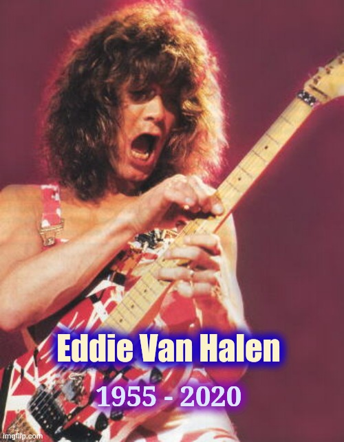Come on , 2020 , stop it ! |  1955 - 2020; Eddie Van Halen | image tagged in van halen,leap year,rock and roll,guitar | made w/ Imgflip meme maker