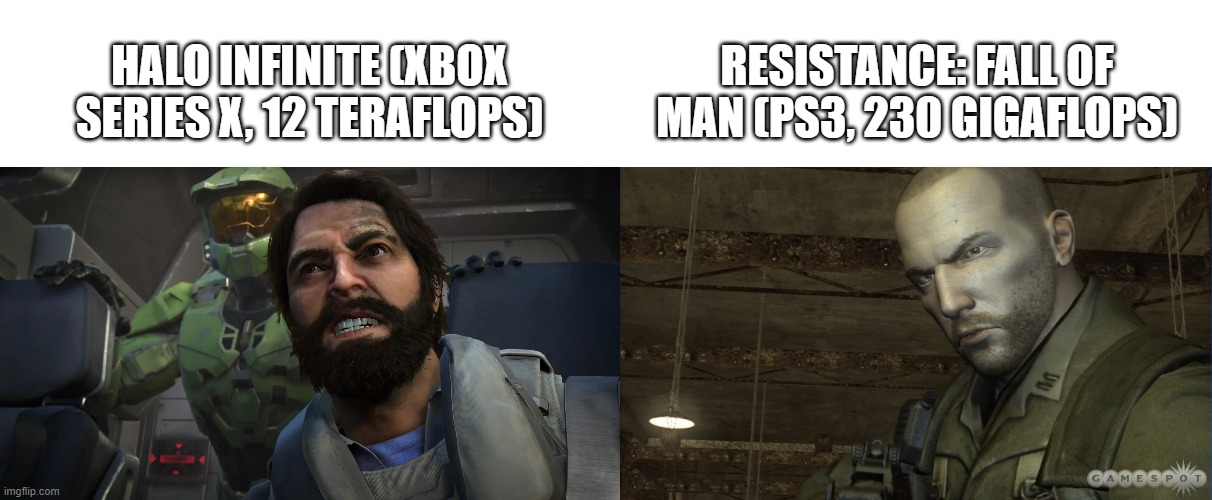 Halo Infinite VS Resistance: Fall Of Man (Xbox Series X VS PS3) |  HALO INFINITE (XBOX SERIES X, 12 TERAFLOPS); RESISTANCE: FALL OF MAN (PS3, 230 GIGAFLOPS) | image tagged in halo,resistance,xbox,playstation,comparison | made w/ Imgflip meme maker