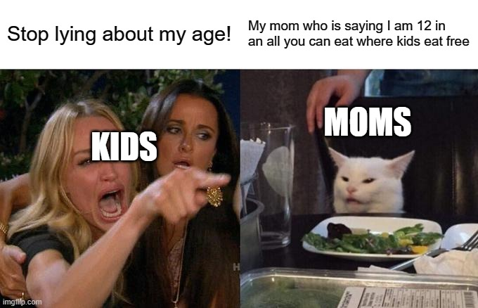 Woman Yelling At Cat Meme |  Stop lying about my age! My mom who is saying I am 12 in an all you can eat where kids eat free; MOMS; KIDS | image tagged in memes,woman yelling at cat | made w/ Imgflip meme maker