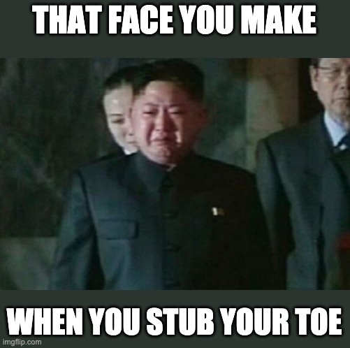 Kim Jong Un Sad |  THAT FACE YOU MAKE; WHEN YOU STUB YOUR TOE | image tagged in memes,kim jong un sad | made w/ Imgflip meme maker