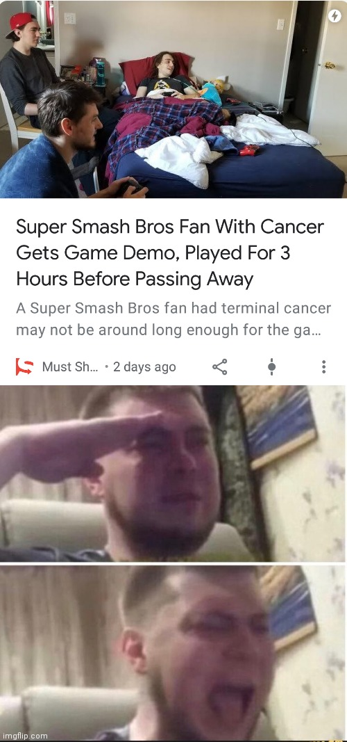 This is so sad gamers | image tagged in crying salute | made w/ Imgflip meme maker