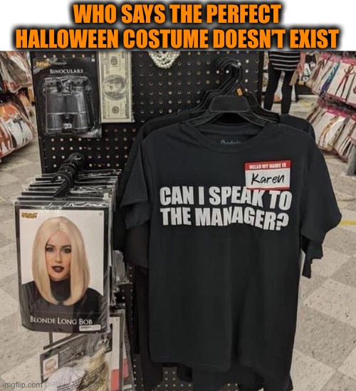 Strike fear into all retail workers |  WHO SAYS THE PERFECT HALLOWEEN COSTUME DOESN'T EXIST | image tagged in karen costume,halloween,can i speak to your manager,spooktober,outfit,shirt | made w/ Imgflip meme maker