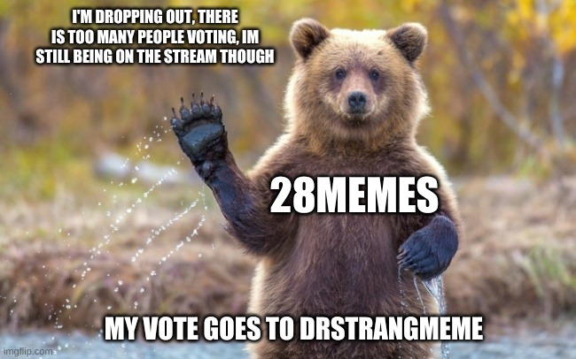 Strangmeme team |  I'M DROPPING OUT, THERE IS TOO MANY PEOPLE VOTING, IM STILL BEING ON THE STREAM THOUGH; 28MEMES; MY VOTE GOES TO DRSTRANGMEME | image tagged in bye bye bear | made w/ Imgflip meme maker
