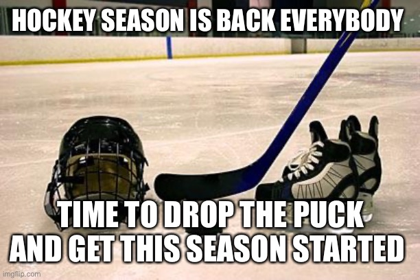 Hockey |  HOCKEY SEASON IS BACK EVERYBODY; TIME TO DROP THE PUCK AND GET THIS SEASON STARTED | image tagged in hockey | made w/ Imgflip meme maker
