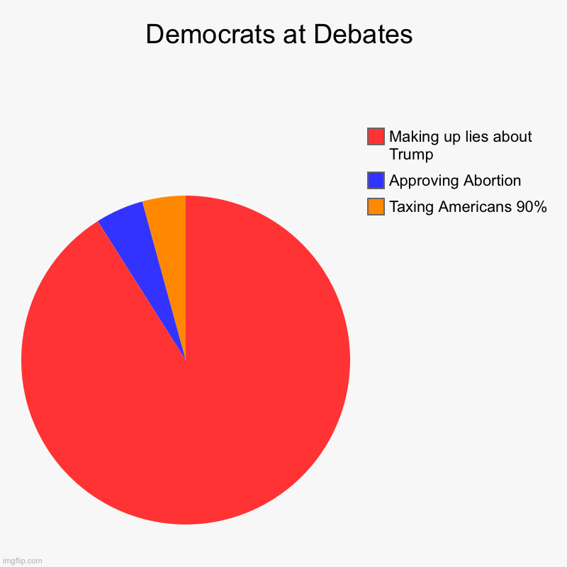 Democrats at Debates | Taxing Americans 90%, Approving Abortion, Making up lies about Trump | image tagged in charts,pie charts | made w/ Imgflip chart maker