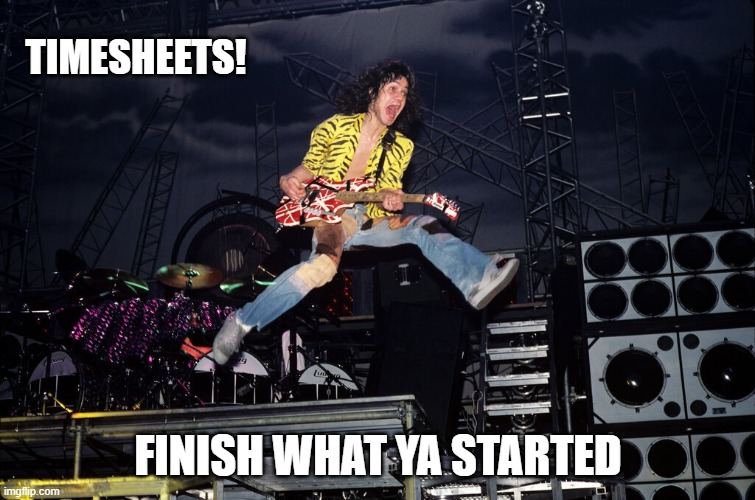 TImesheet Reminder |  TIMESHEETS! FINISH WHAT YA STARTED | image tagged in timesheet reminder,timesheet meme,finish what ya started,eddie van halen | made w/ Imgflip meme maker
