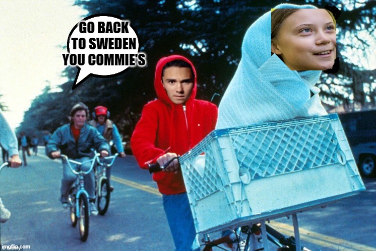 Greta looks like E.T. |  GO BACK TO SWEDEN YOU COMMIE'S | image tagged in greta,david hogg | made w/ Imgflip meme maker