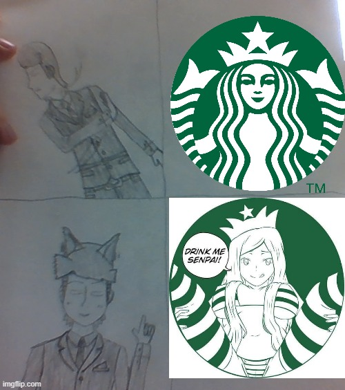 Ah Yes.  The Starbucks Lady in Rule 34... | image tagged in mike dixon drake meme template,starbucks,senpai,anime,memes,rule 34 | made w/ Imgflip meme maker