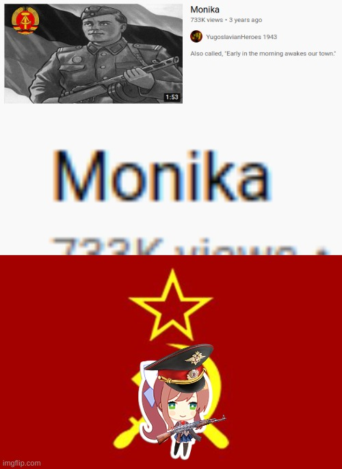 Looks like Monika is Communist all of a sudden. | image tagged in soviet flag,monika,communism,communist socialist,stalin,ddlc | made w/ Imgflip meme maker