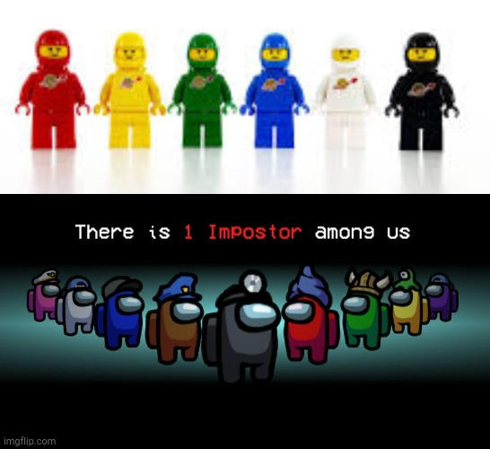 Blue's looking kinda sus | image tagged in there is one impostor among us,lego,legos,astronaut,among us | made w/ Imgflip meme maker