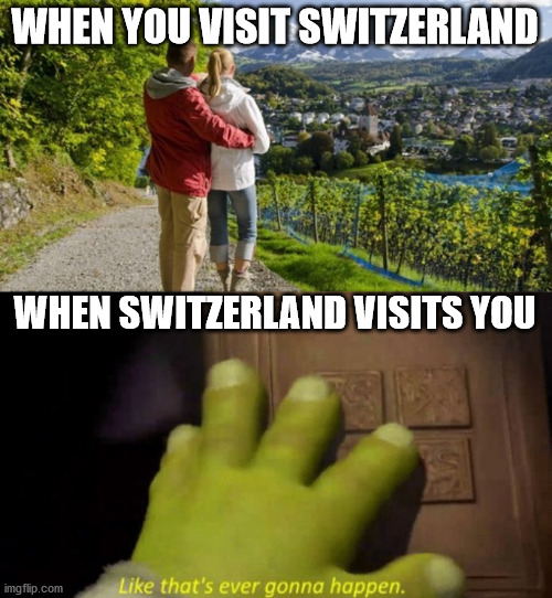 WHEN YOU VISIT SWITZERLAND; WHEN SWITZERLAND VISITS YOU | image tagged in like that's ever gonna happen | made w/ Imgflip meme maker