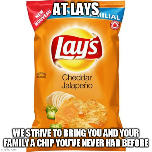 AT LAYS; WE STRIVE TO BRING YOU AND YOUR FAMILY A CHIP YOU'VE NEVER HAD BEFORE | image tagged in memes | made w/ Imgflip meme maker